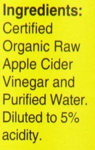 Apple cider vinegar ingredients