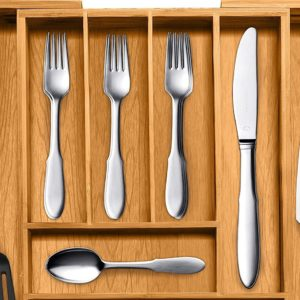 Large Utensil Drawer Organizer From Bamboo - Keep Your Utensils Organized